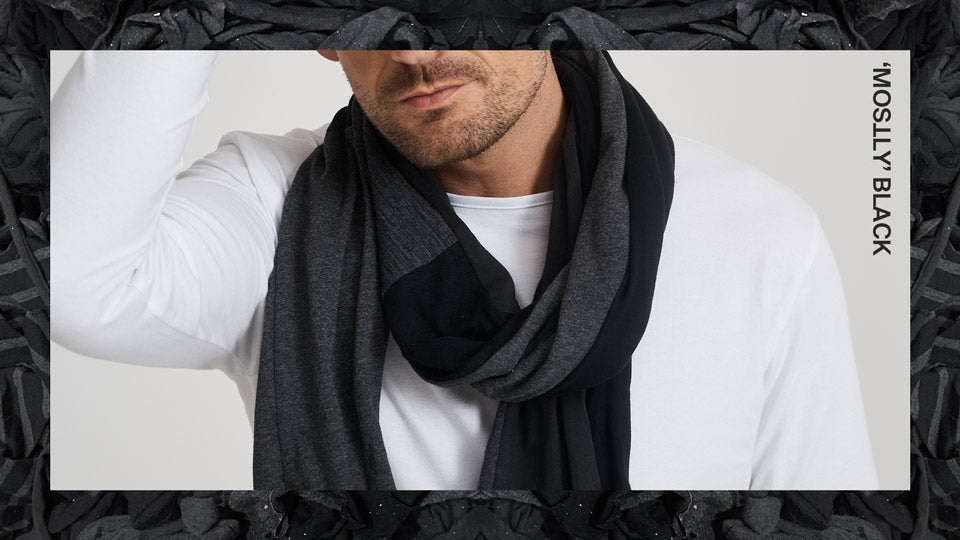 Unisex Zero Waste Scarf in 'Mostly' Black