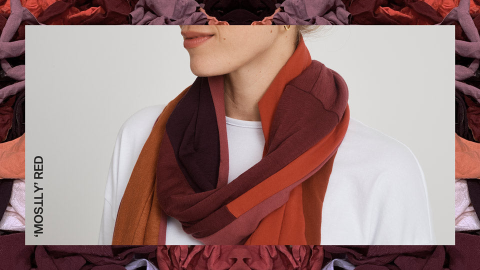 Unisex Zero Waste Scarf in 'Mostly' Red