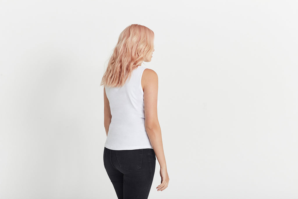 """The Jolie"" Women's Tank in white organic cotton by Citizen Wolf"