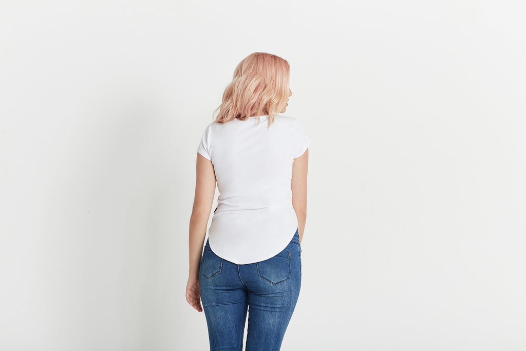 """The Tiffany Jones"" Women's T-shirt in white organic cotton by Citizen Wolf"