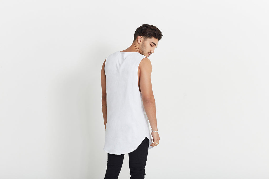 """The Kanye"" Men's long-line tank T-shirt in white organic cotton by Citizen Wolf"