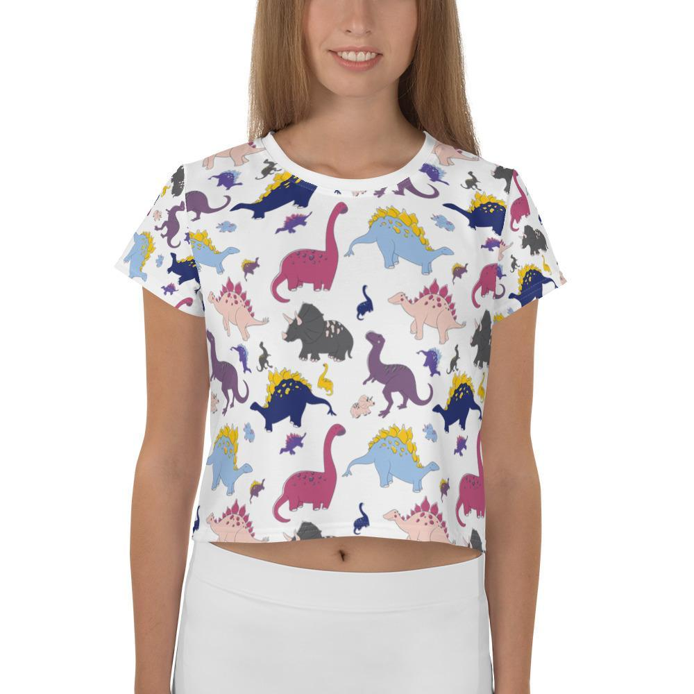 Dino-Mite Crop Tee in White