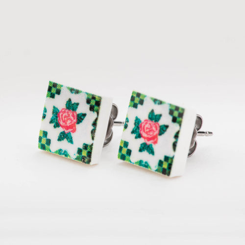 Peranakan Tiles (White) Ear Studs