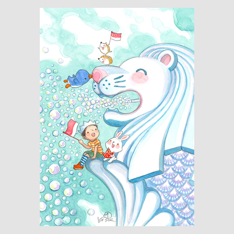 Merlion Big Love A4 Framed Print