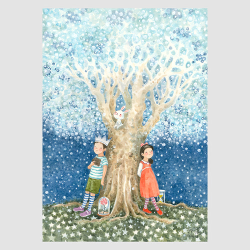 Under the Starry Tree A4 Framed Print