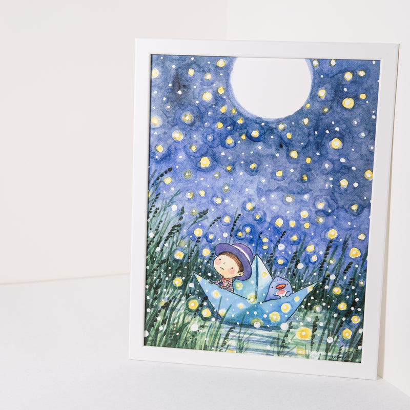 Fireflies Moon A3 Print
