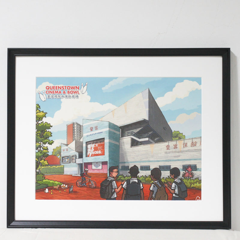 Queenstown Cinema and Bowl A3 Print