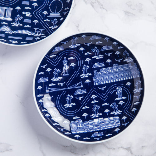 Singapore River Architecture Porcelain Plate