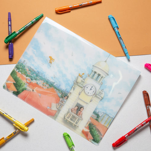 Hwa Chong 100 $4.90  A4 Clear Folder (with 10 pockets) (2 DESIGNS)