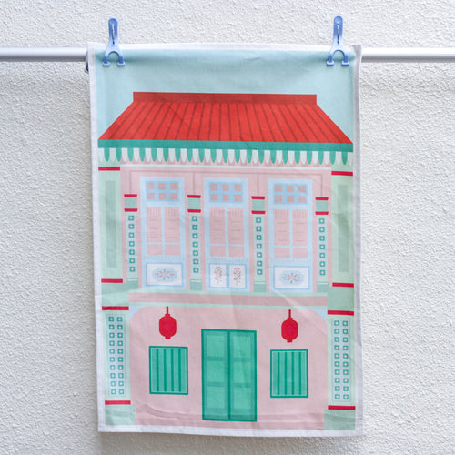 Pink Shophouse Tea Towel