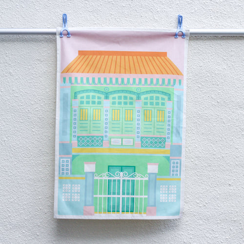 Blue Shophouse Tea Towel