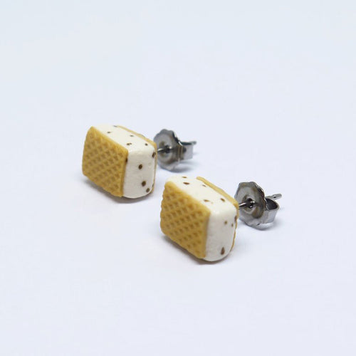 Ice Cream Sandwich (White) Ear Studs