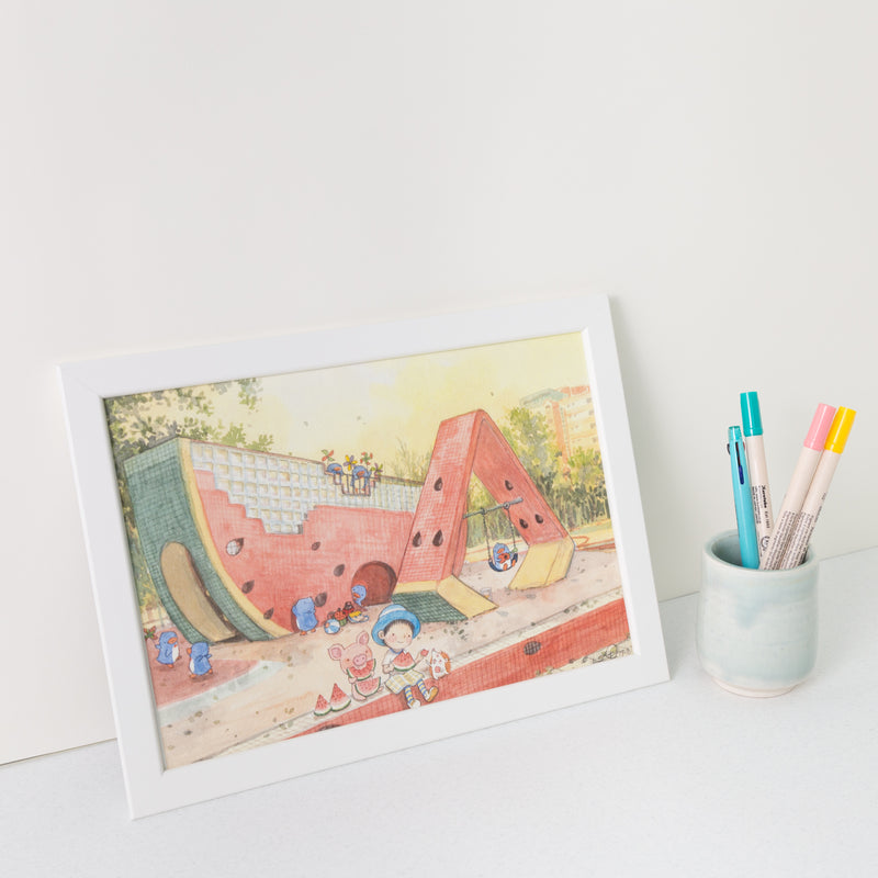 Watermelon Playground A4 Framed Print