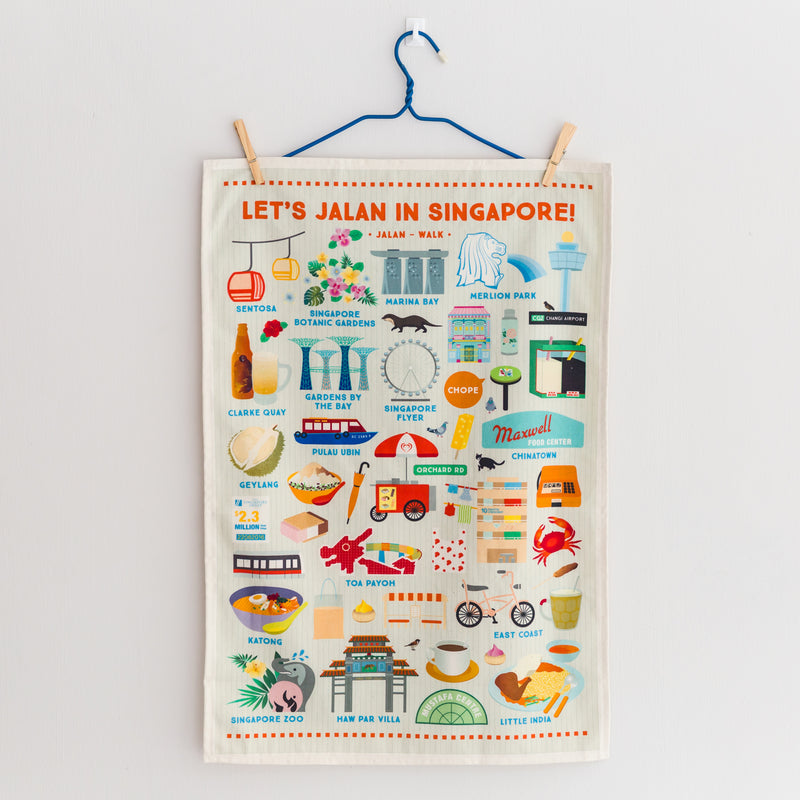 Let's Jalan in Singapore Tea Towel