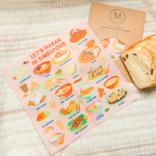Let's Makan in Singapore (Pink) Beeswax Food Wrap