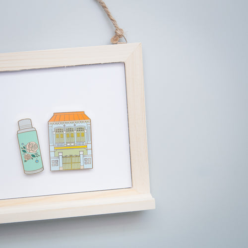 Blue Shophouse and Flask Magnet Set