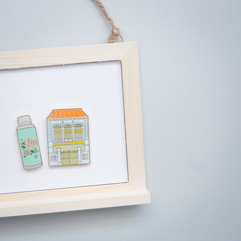 Blue Green Shophouse and Flask Magnet Set