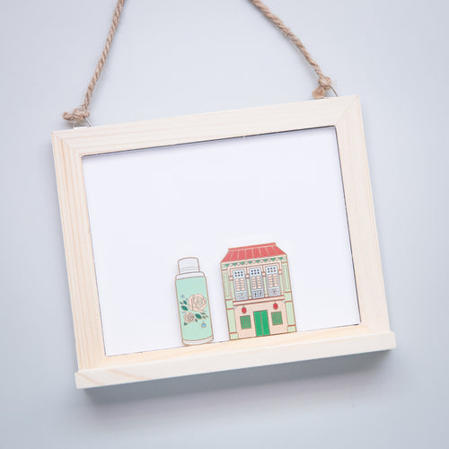 Pink Shophouse and Flask Magnet Set
