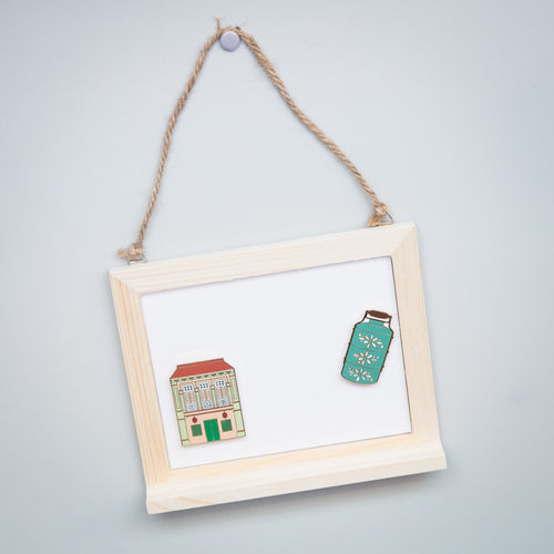 Pink Shophouse and Tingkat Magnet Set