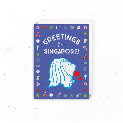 Greetings from Singapore (Merlion) Card
