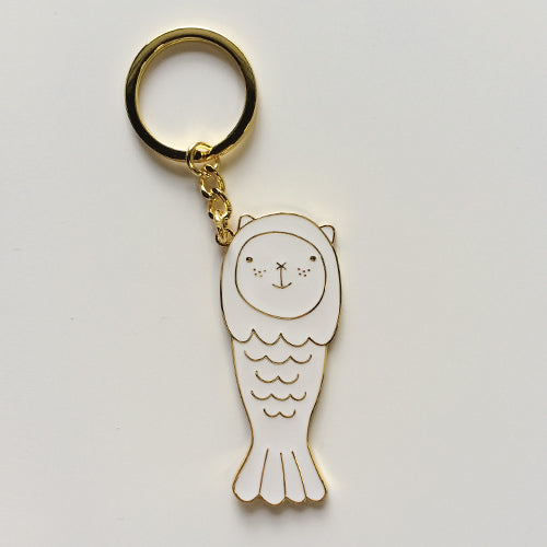 Merlion Chou Chou Metal Keychain (Gold)