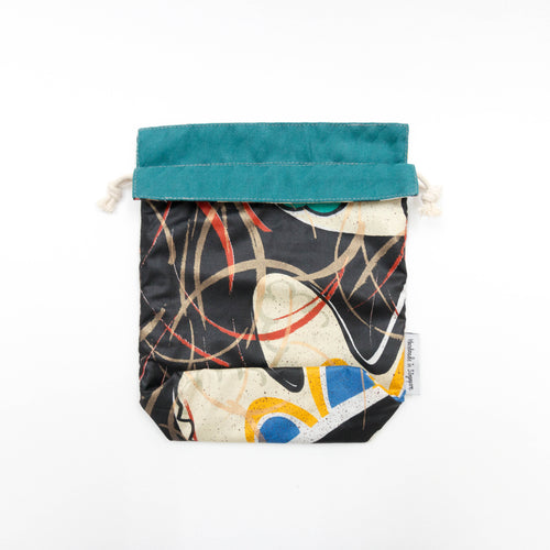 Black Abstract x Green Reversible Drawstring Pouch