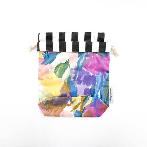 Water Colour Flowers x Black Stripes Reversible Drawstring Pouch