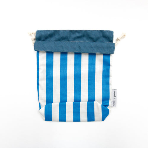 Blue Stripes x Navy Reversible Drawstring Pouch