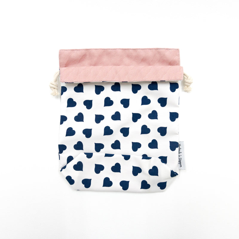 Blue Hearts x Pink Reversible Drawstring Pouch