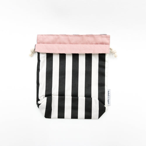 Black Stripes x Pink Reversible Drawstring Pouch