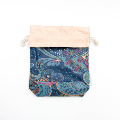 Blue Paisley x Pink Reversible Drawstring Pouch