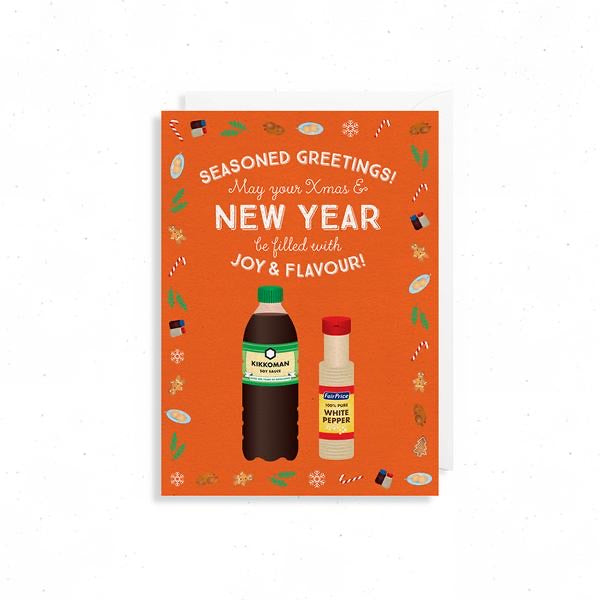Soya sauce and white pepper Seasons greetings Card