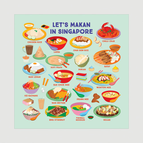 Let's Makan in Singapore (Green) Beeswax Food Wrap