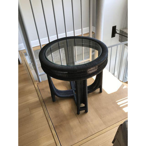 Vintage Black Wicker Side Table