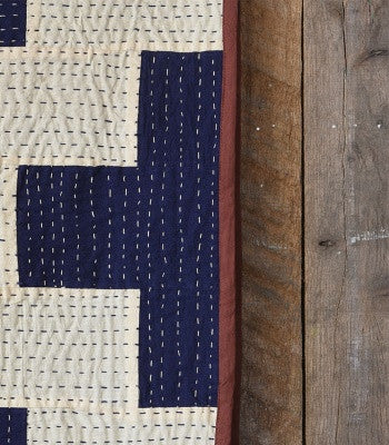 Heritage Kantha Stitched Throw Navy/Ivory Plus