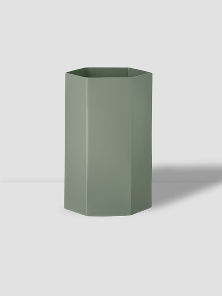 Hexagon Vase in Dusty Green