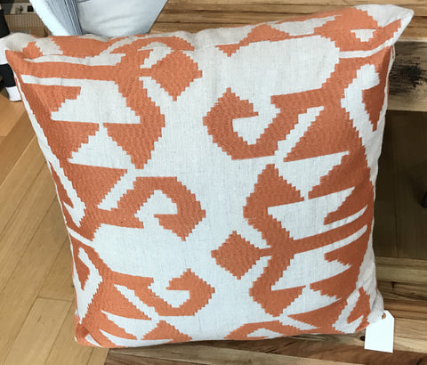 Geometric Print Orange Throw Pillow