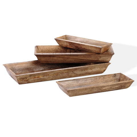 Wooden Lodge Trays Set of 4