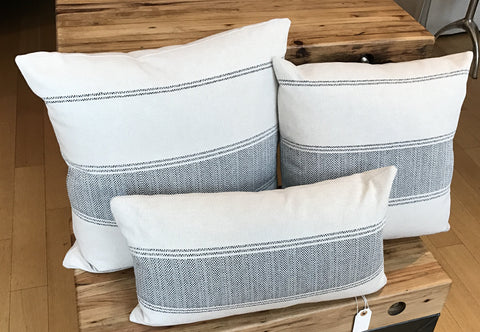 Trio of Black and White Striped Pillows