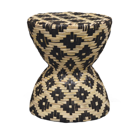Palecek's Woven Rattan Black & White Hourglass Stool/table