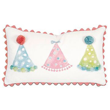 Party Hats Hand Painted Pillow