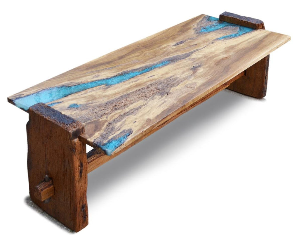 Live Edge Rustic Oak With Turquoise Inlay Coffee Table Ad Hoc Home