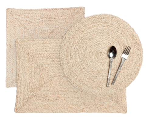 Raffia Placemats, Bleached, Set of Four