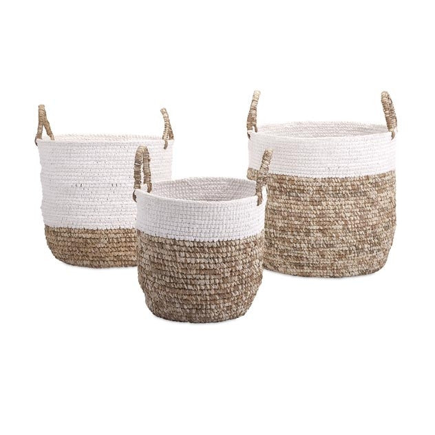Shoelace and Raffia Woven Baskets - S/3