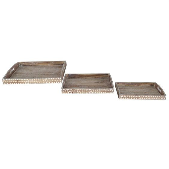 Wood Triangle Trays- Set of Three