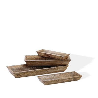 Wooden Lodge Trays S/4