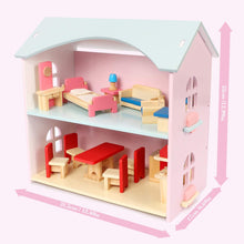 Load image into Gallery viewer, MIKIBLUE Kids Wooden Dollhouse Toys, Dolls Home with Furniture & Accessories, Toddler Girl Toys Story Doll House with Kitchen, Bedroom, and Living Room, Pink Gifts for Girls and Boys