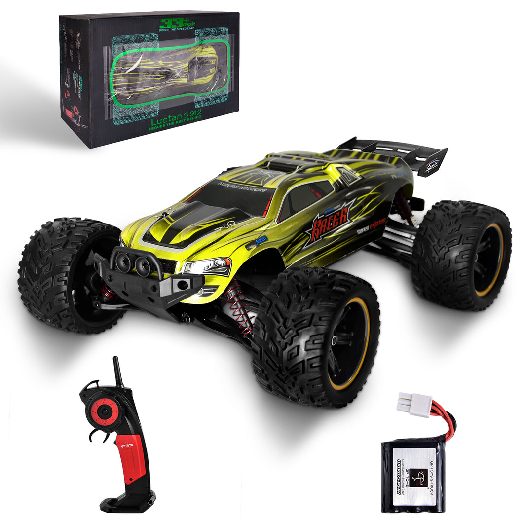 GP TOYS LUCTAN S912 1/12 Scale   , All Terrain 33+MPH  Electric Waterproof  Hobby RC Car Monster Truggy(Yellow)
