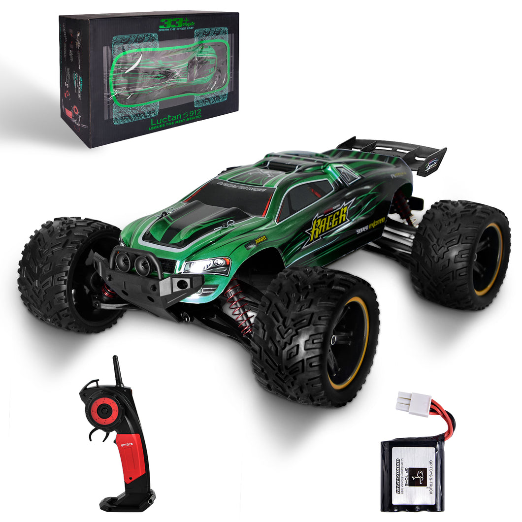 GP TOYS LUCTAN S912 1/12 Scale   , All Terrain 33+MPH  Electric Waterproof  Hobby RC Car Monster Truggy (Green)
