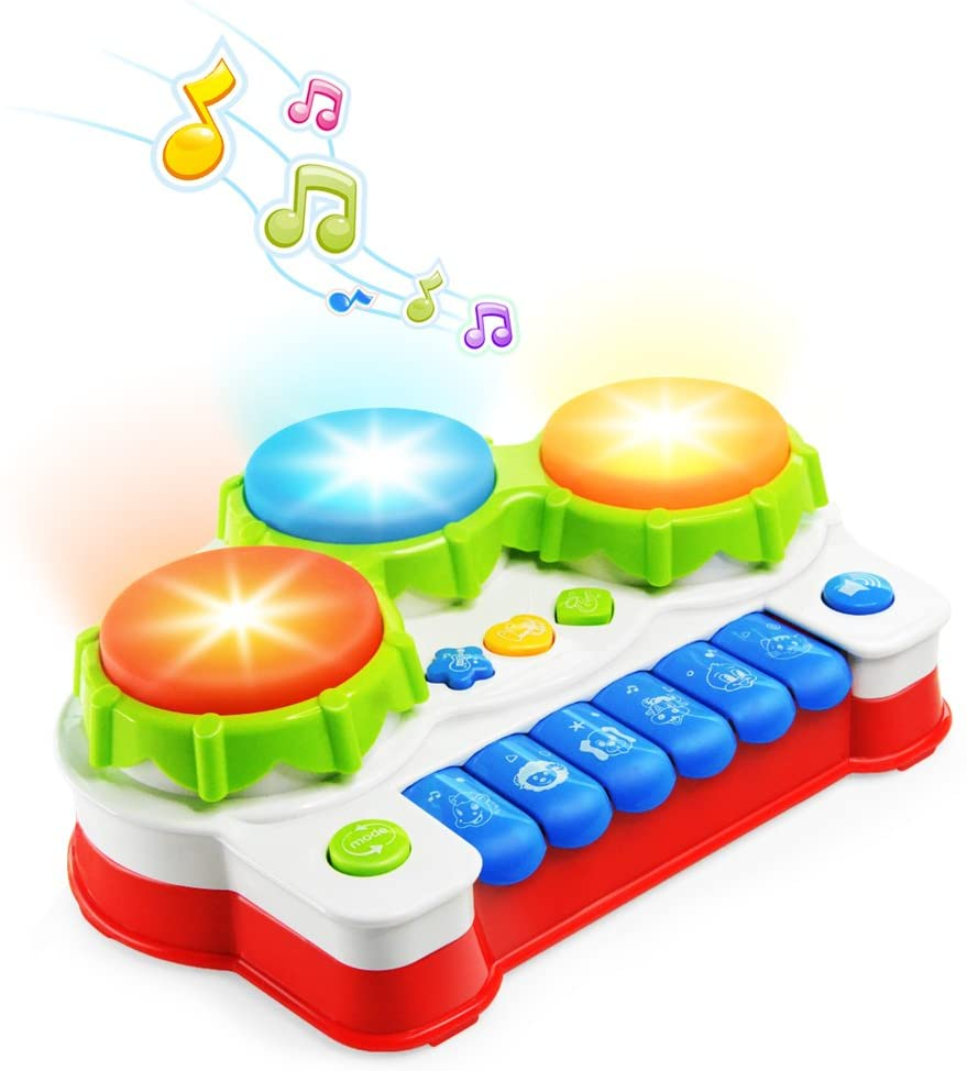 LAWASEN Baby Musical Toys Toddler Learning Music Drum Piano Toy Development Musical Toy for 6 Months Infant Baby with Music and Lighting Up